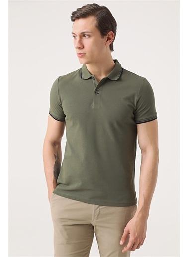 TWN Twn Slim Fit Vizon Pike Dokulu T-Shirt Haki